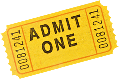 Photo of a gold admittance ticket.