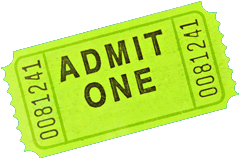 Photo of a lime green admittance ticket.