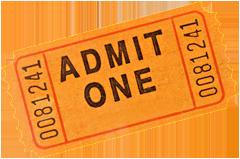 Photo of an orange admittance ticket.