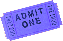 Photo of a periwinkle admittance ticket.
