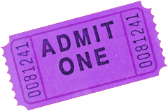Photo of a purple admittance ticket.