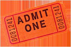 Photo of a red-orange admittance ticket.