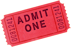 Photo of a tomato red admittance ticket.