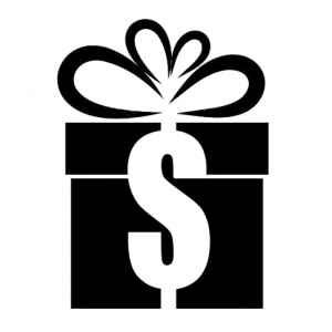 Illustration of a box gift-wrapped with ribbon shaped like a dollar sign