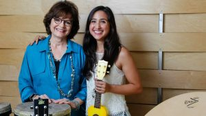 Barbara Reuer (left), founder and CEO of Resounding Joy Inc., and Megan Wong, director of Semper Sound, show instruments they use in their music therapy. Photo by Eduardo Contreras- UT San Diego)