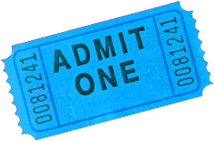 Photo of a blue admittance ticket.