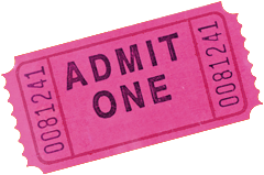 Photo of a hot pink admittance ticket.