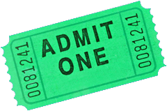 Photo of a kelly green admittance ticket.